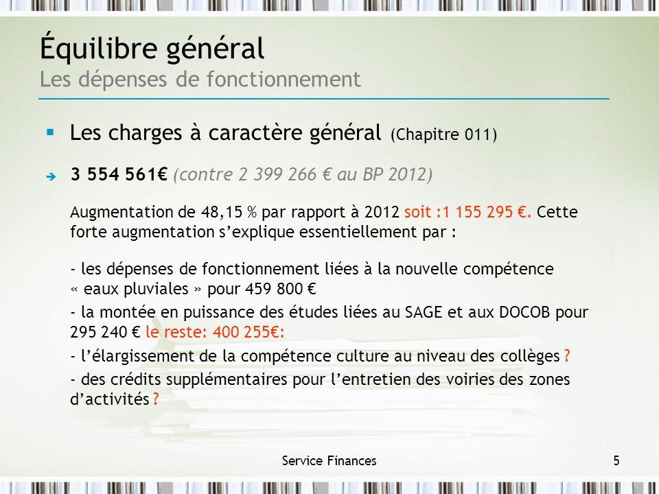 Service Finances5 Équilibre général Les dépenses de fonctionnement Les charges à caractère général (Chapitre 011) 3 554 561 (contre 2 399 266 au BP 20