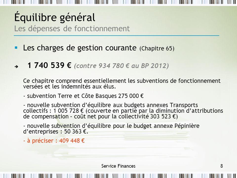 Service Finances8 Les charges de gestion courante (Chapitre 65) 1 740 539 (contre 934 780 au BP 2012) Ce chapitre comprend essentiellement les subvent