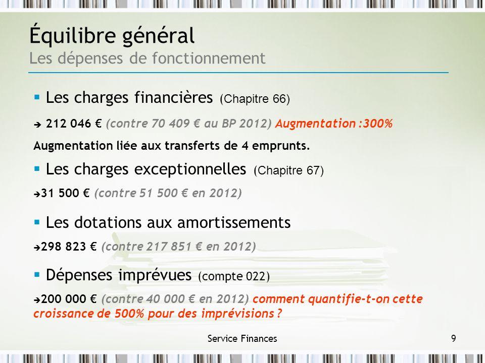 Service Finances9 Équilibre général Les dépenses de fonctionnement Les charges exceptionnelles ( Chapitre 67) 31 500 (contre 51 500 en 2012) Les dotat