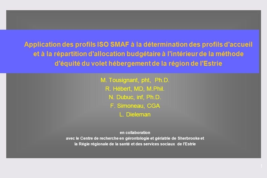 1 Application des profils ISO SMAF à la détermination des profils d'accueil et à la répartition d'allocation budgétaire à l'intérieur de la méthode d'