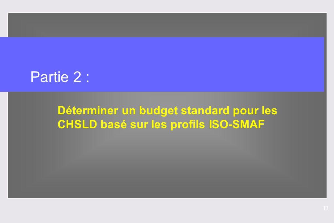 13 Partie 2 : Déterminer un budget standard pour les CHSLD basé sur les profils ISO-SMAF