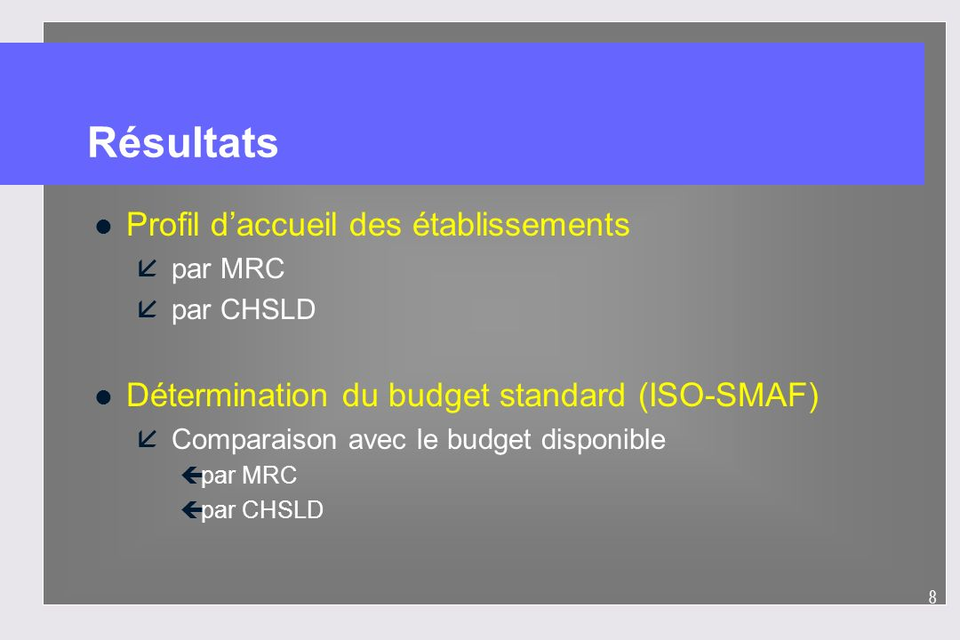 8 Résultats l Profil daccueil des établissements å par MRC å par CHSLD l Détermination du budget standard (ISO-SMAF) å Comparaison avec le budget disp