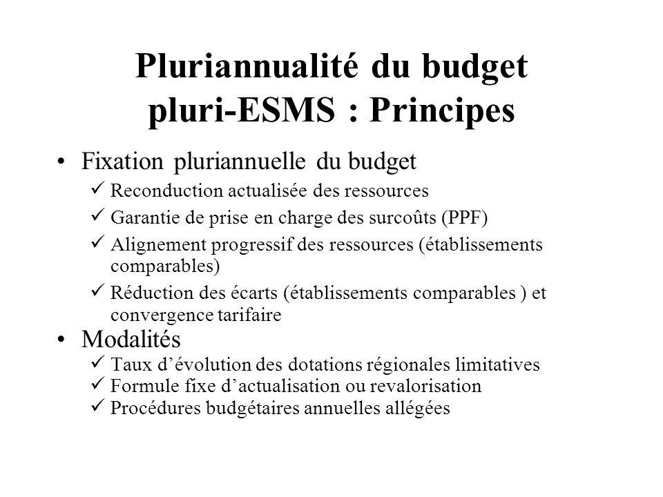 Pluriannualité du budget pluri-ESMS : Principes Fixation pluriannuelle du budget Reconduction actualisée des ressources Garantie de prise en charge de