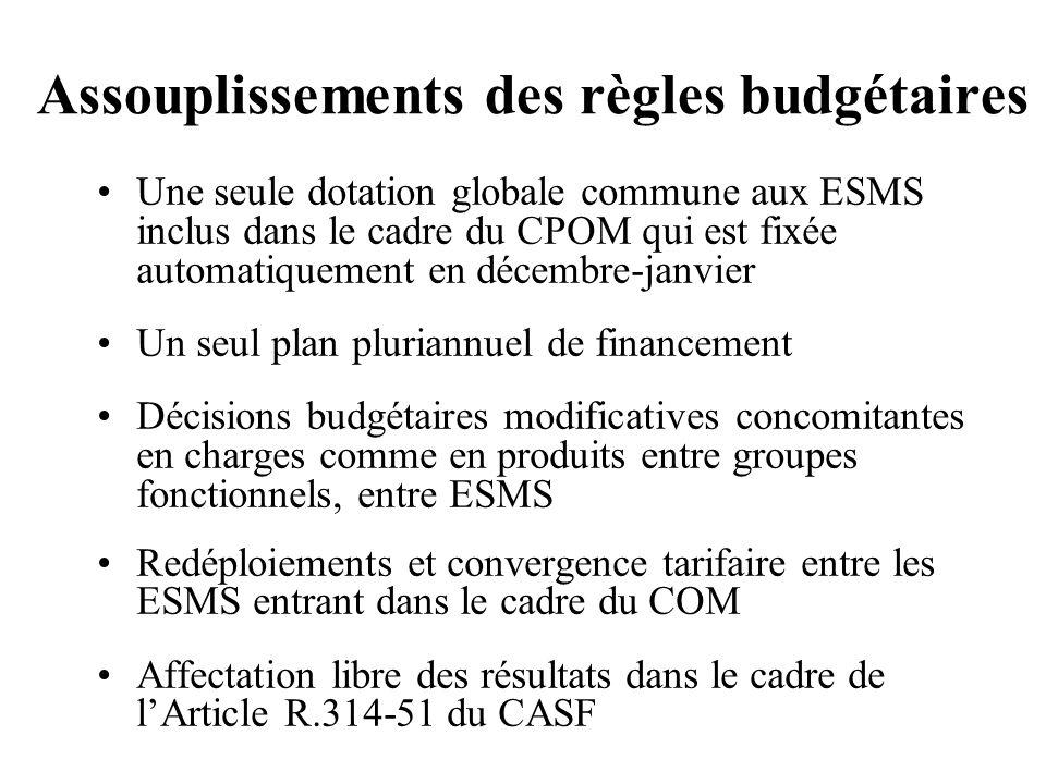 Assouplissements des règles budgétaires Une seule dotation globale commune aux ESMS inclus dans le cadre du CPOM qui est fixée automatiquement en déce