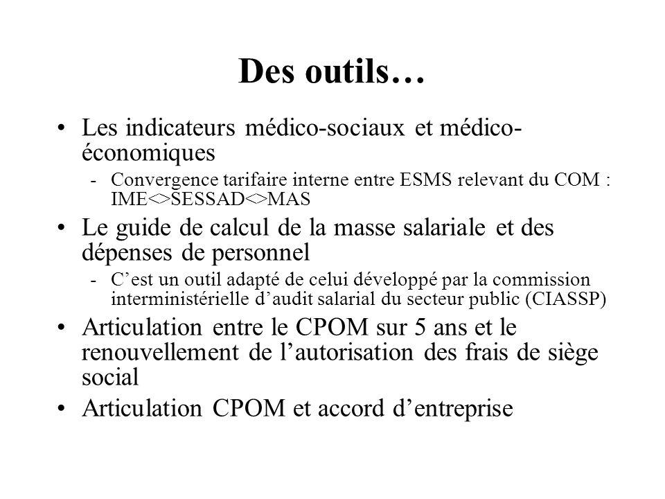 Des outils… Les indicateurs médico-sociaux et médico- économiques -Convergence tarifaire interne entre ESMS relevant du COM : IME<>SESSAD<>MAS Le guid