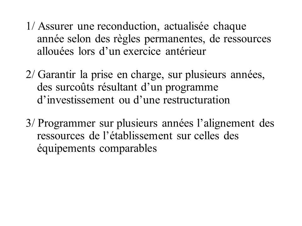 1/ Assurer une reconduction, actualisée chaque année selon des règles permanentes, de ressources allouées lors dun exercice antérieur 2/ Garantir la p