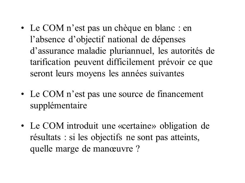 Le COM nest pas un chèque en blanc : en labsence dobjectif national de dépenses dassurance maladie pluriannuel, les autorités de tarification peuvent