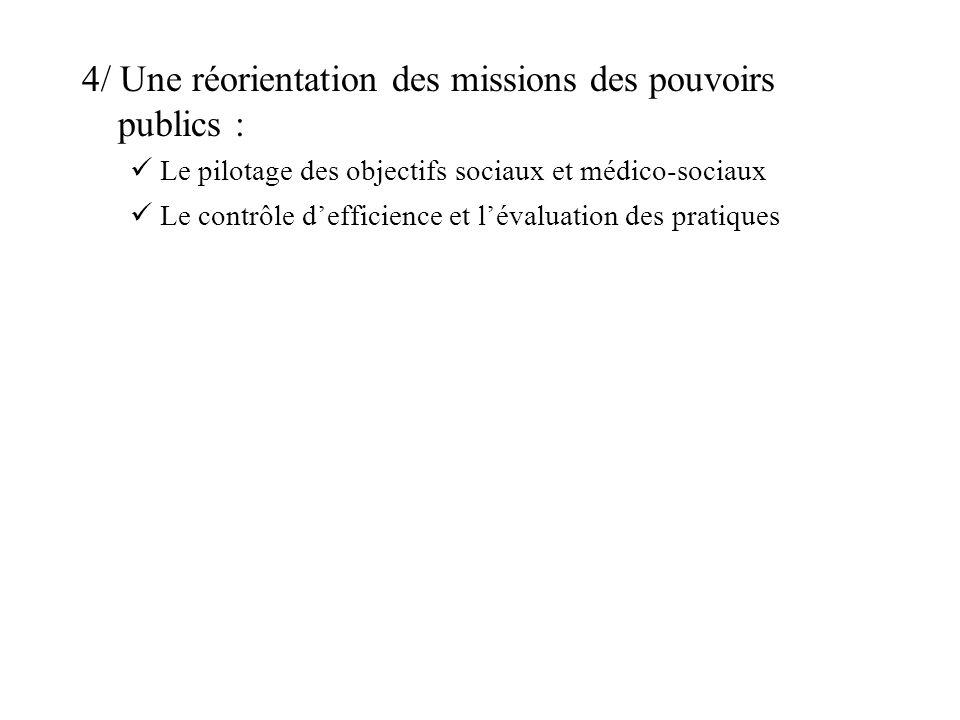 4/ Une réorientation des missions des pouvoirs publics : Le pilotage des objectifs sociaux et médico-sociaux Le contrôle defficience et lévaluation de