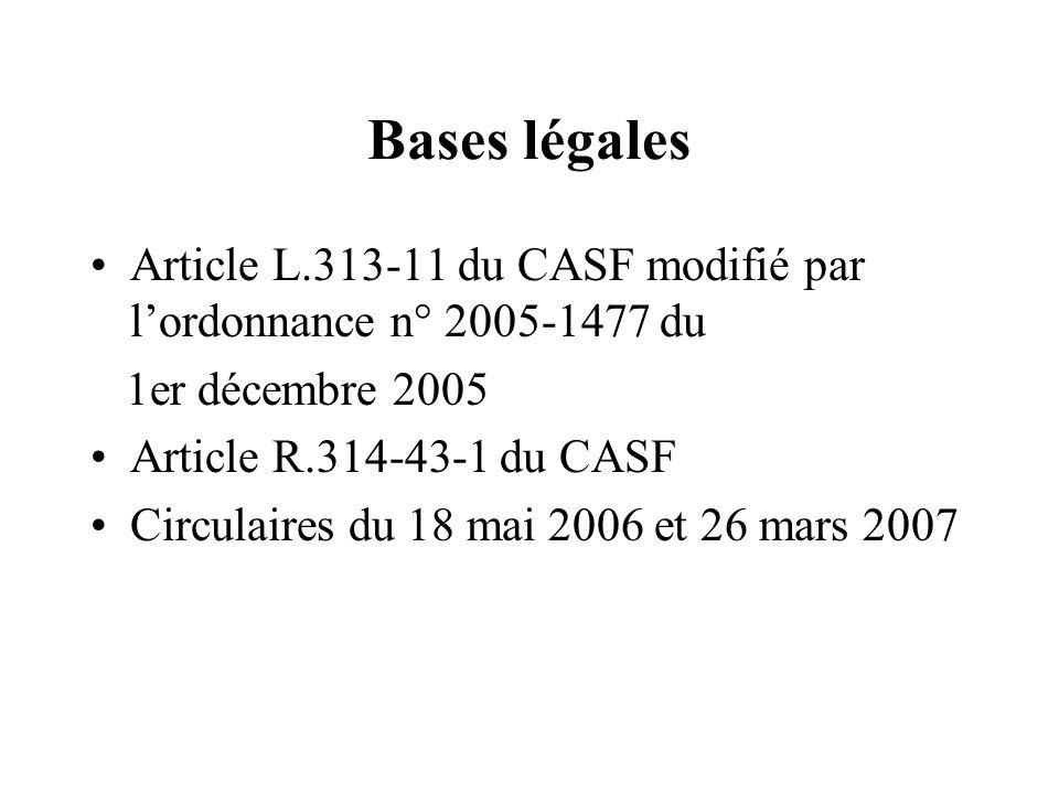 Bases légales Article L.313-11 du CASF modifié par lordonnance n° 2005-1477 du 1er décembre 2005 Article R.314-43-1 du CASF Circulaires du 18 mai 2006