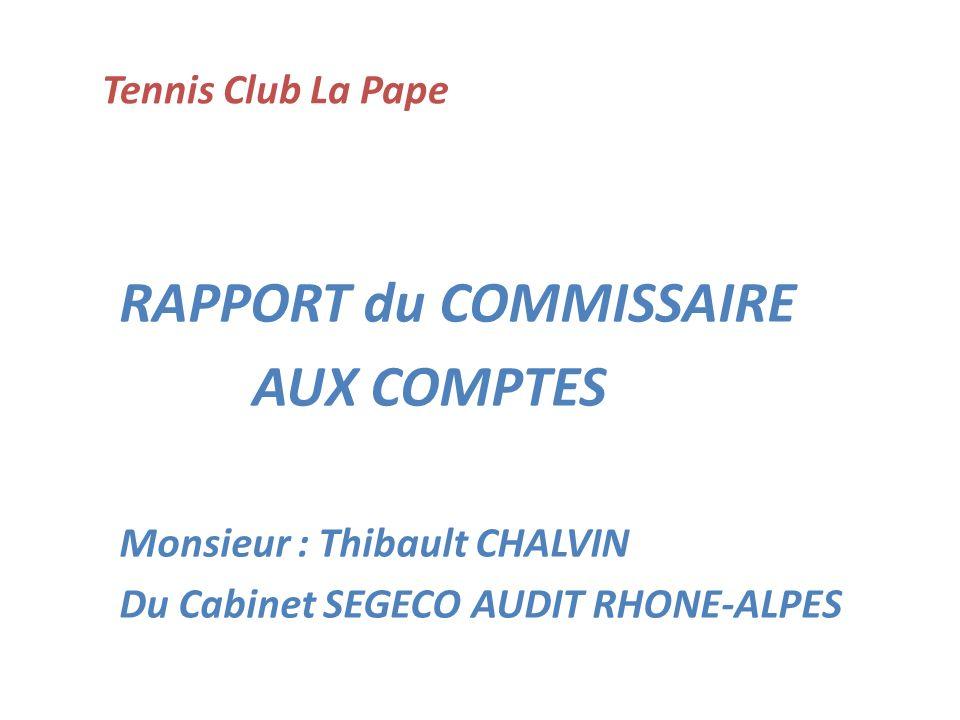 Tennis Club La Pape RAPPORT du COMMISSAIRE AUX COMPTES Monsieur : Thibault CHALVIN Du Cabinet SEGECO AUDIT RHONE-ALPES