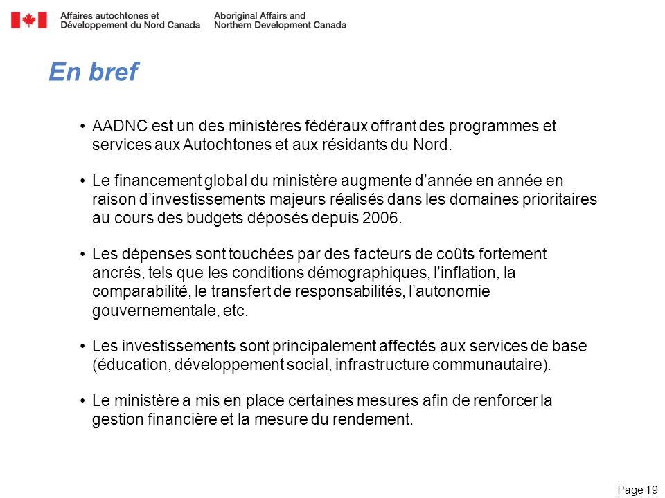 Page 19 AADNC est un des ministères fédéraux offrant des programmes et services aux Autochtones et aux résidants du Nord.