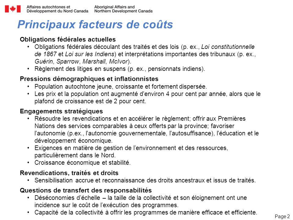 Page 2 Principaux facteurs de coûts Obligations fédérales actuelles Obligations fédérales découlant des traités et des lois (p.