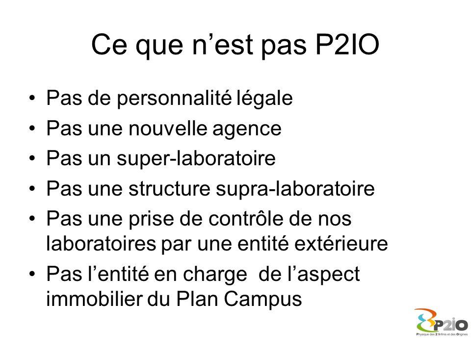 Ce que nest pas P2IO Pas de personnalité légale Pas une nouvelle agence Pas un super-laboratoire Pas une structure supra-laboratoire Pas une prise de
