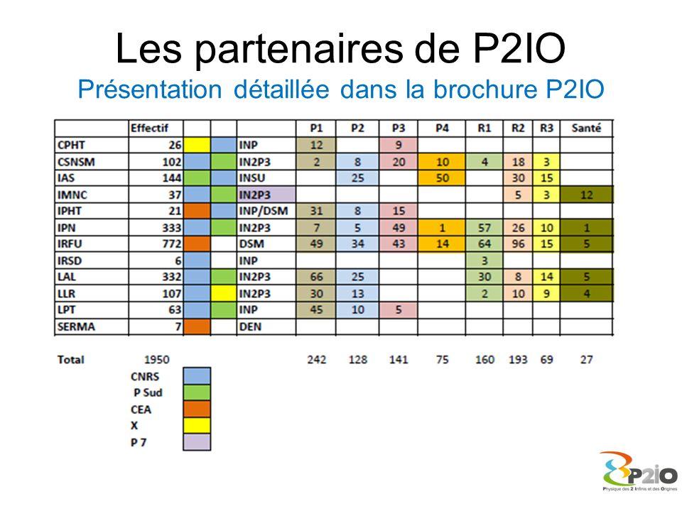 Les partenaires de P2IO Présentation détaillée dans la brochure P2IO