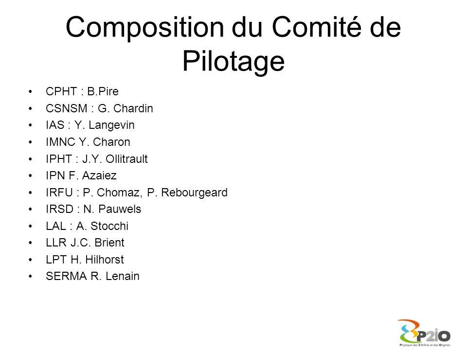 Composition du Comité de Pilotage CPHT : B.Pire CSNSM : G. Chardin IAS : Y. Langevin IMNC Y. Charon IPHT : J.Y. Ollitrault IPN F. Azaiez IRFU : P. Cho