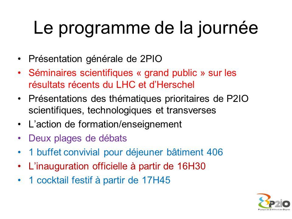 Le programme de la journée Présentation générale de 2PIO Séminaires scientifiques « grand public » sur les résultats récents du LHC et dHerschel Prése