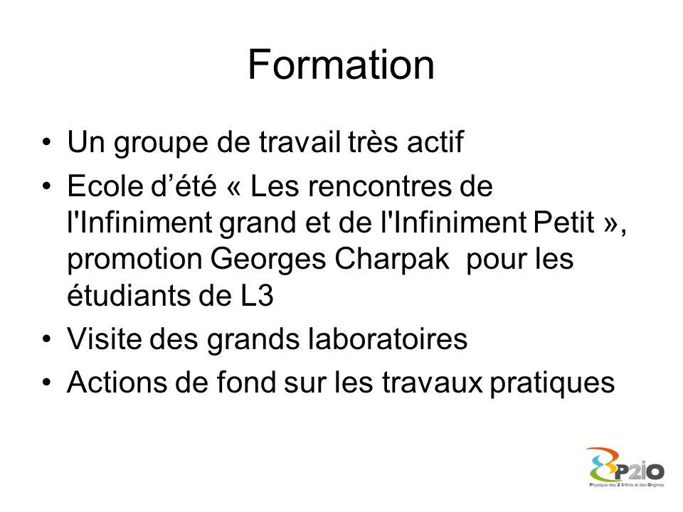 Formation Un groupe de travail très actif Ecole dété « Les rencontres de l'Infiniment grand et de l'Infiniment Petit », promotion Georges Charpak pour