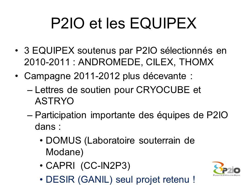 P2IO et les EQUIPEX 3 EQUIPEX soutenus par P2IO sélectionnés en 2010-2011 : ANDROMEDE, CILEX, THOMX Campagne 2011-2012 plus décevante : –Lettres de so
