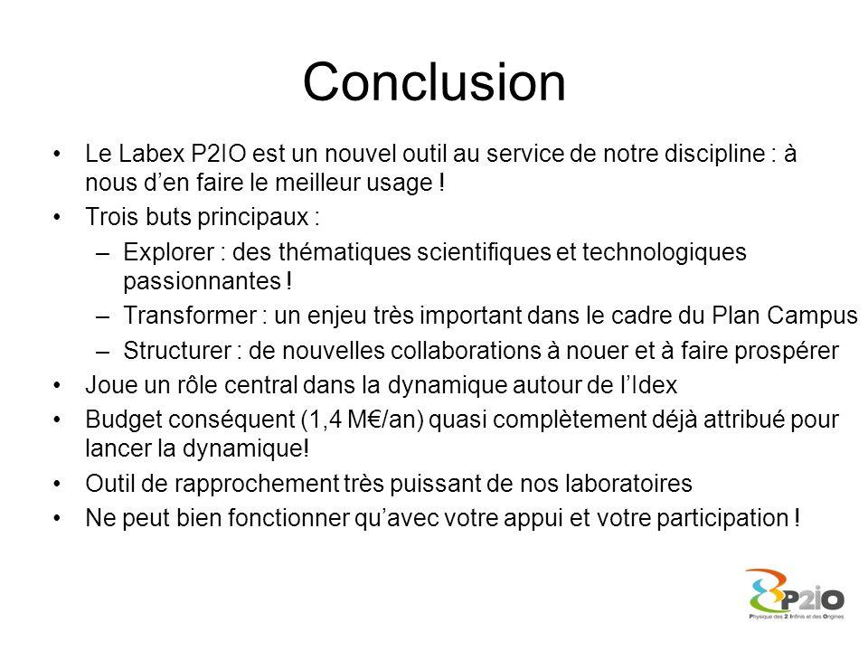 Conclusion Le Labex P2IO est un nouvel outil au service de notre discipline : à nous den faire le meilleur usage ! Trois buts principaux : –Explorer :