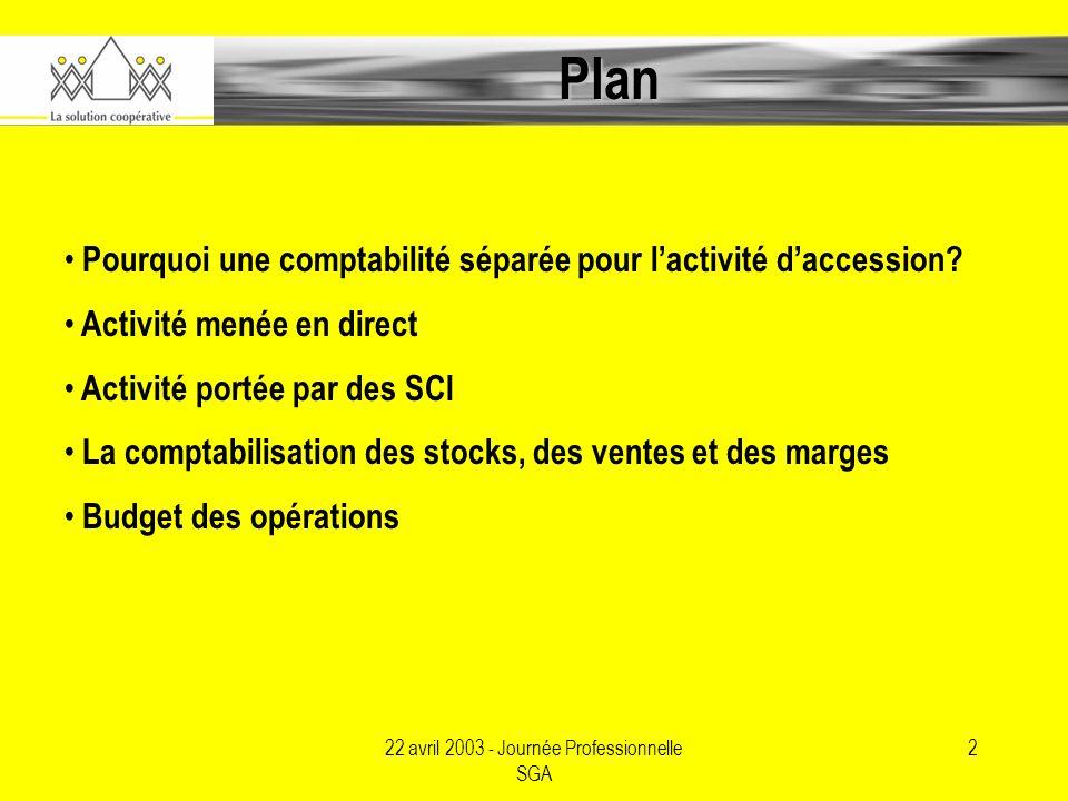 22 avril 2003 - Journée Professionnelle SGA 2 Plan Pourquoi une comptabilité séparée pour lactivité daccession.