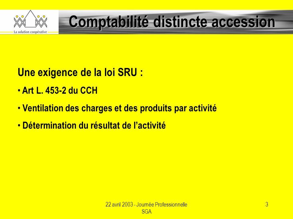 22 avril 2003 - Journée Professionnelle SGA 3 Comptabilité distincte accession Une exigence de la loi SRU : Art L.