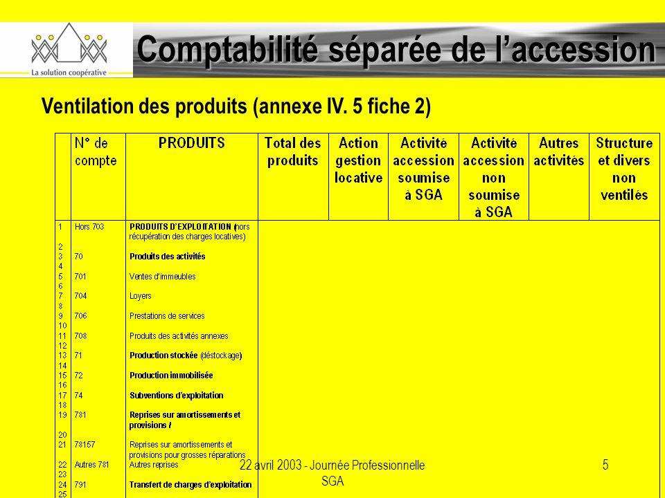22 avril 2003 - Journée Professionnelle SGA 5 Comptabilité séparée de laccession Ventilation des produits (annexe IV.