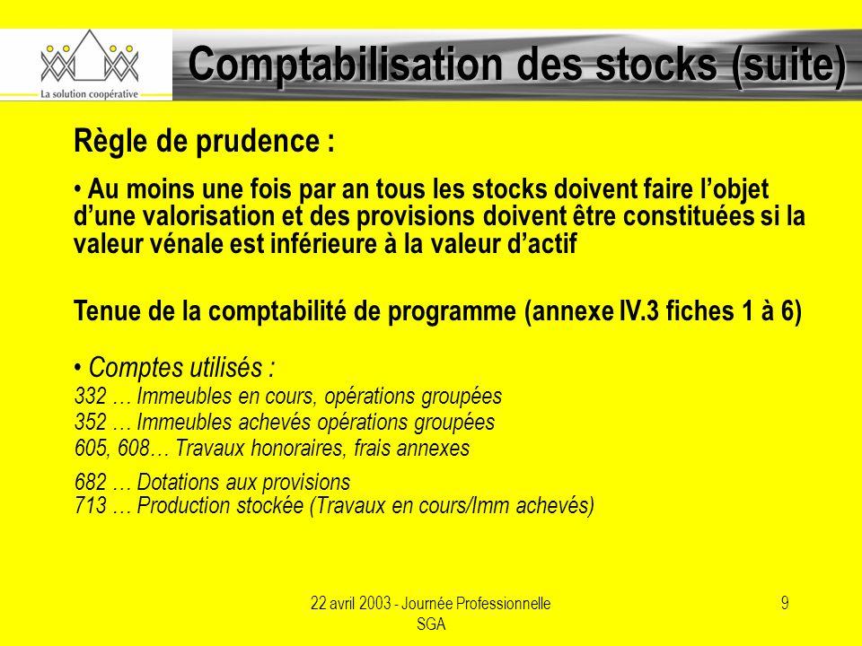 22 avril 2003 - Journée Professionnelle SGA 9 Comptabilisation des stocks (suite) Règle de prudence : Au moins une fois par an tous les stocks doivent faire lobjet dune valorisation et des provisions doivent être constituées si la valeur vénale est inférieure à la valeur dactif Tenue de la comptabilité de programme (annexe IV.3 fiches 1 à 6) Comptes utilisés : 332 … Immeubles en cours, opérations groupées 352 … Immeubles achevés opérations groupées 605, 608… Travaux honoraires, frais annexes 682 … Dotations aux provisions 713 … Production stockée (Travaux en cours/Imm achevés)