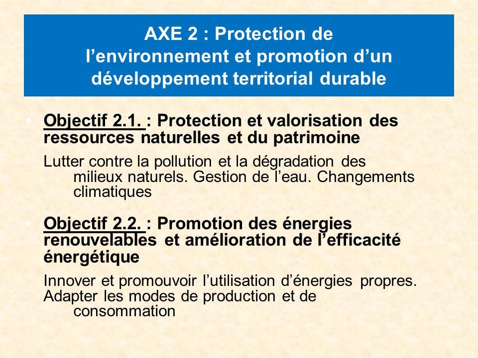 AXE 2 : Protection de lenvironnement et promotion dun développement territorial durable Objectif 2.1.