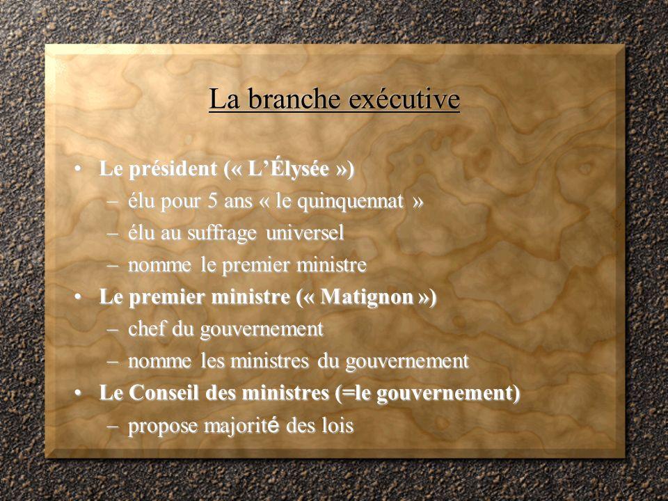 La branche exécutive Le président (« LÉlysée »)Le président (« LÉlysée ») –élu pour 5 ans « le quinquennat » –élu au suffrage universel –nomme le premier ministre Le premier ministre (« Matignon »)Le premier ministre (« Matignon ») –chef du gouvernement –nomme les ministres du gouvernement Le Conseil des ministres (=le gouvernement)Le Conseil des ministres (=le gouvernement) –propose majorit é des lois