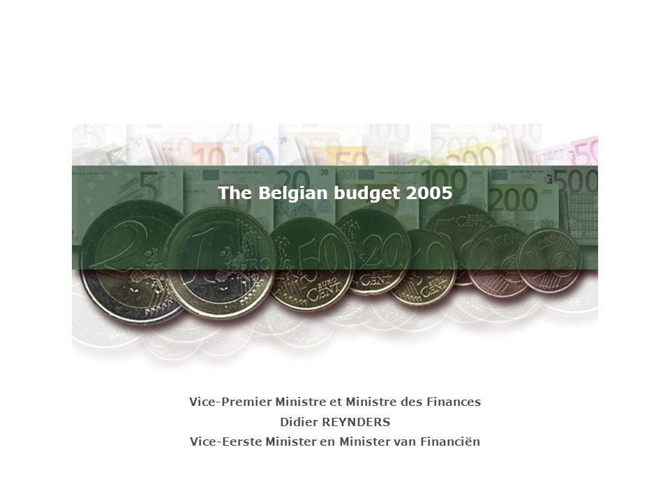 The Belgian budget 2005 Vice-Premier Ministre et Ministre des Finances Didier REYNDERS Vice-Eerste Minister en Minister van Financiën