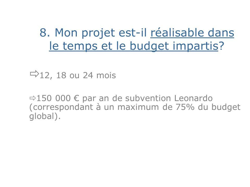 8. Mon projet est-il réalisable dans le temps et le budget impartis.