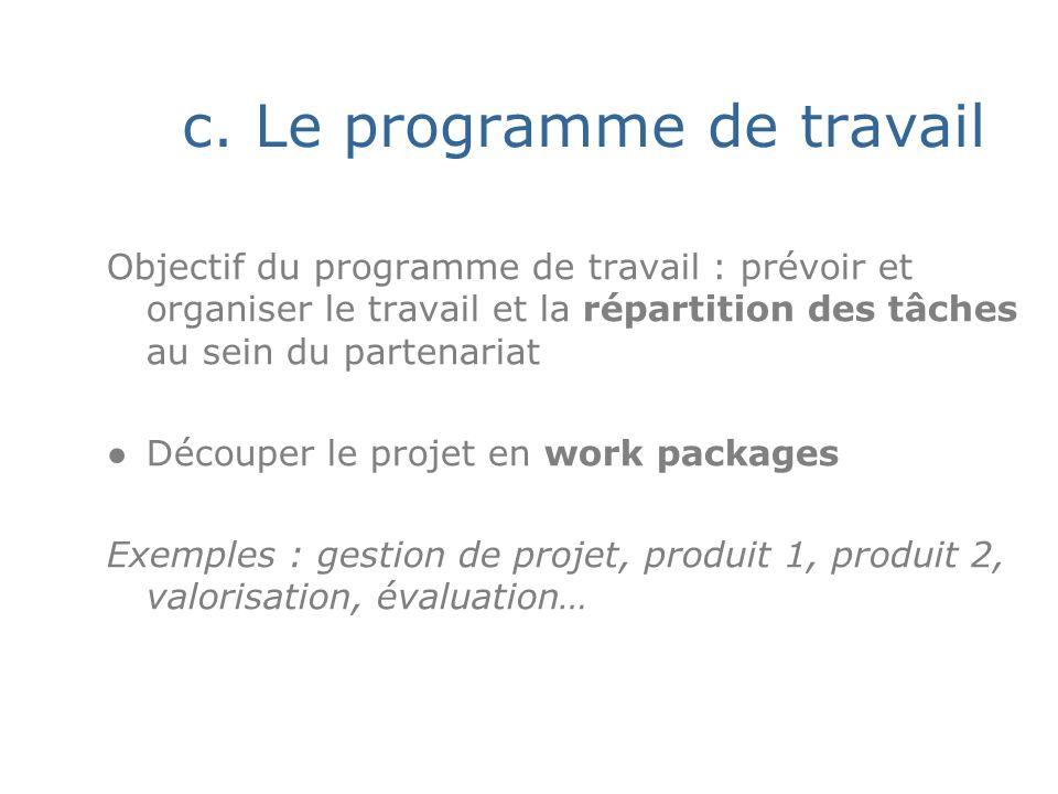 c. Le programme de travail Objectif du programme de travail : prévoir et organiser le travail et la répartition des tâches au sein du partenariat Déco