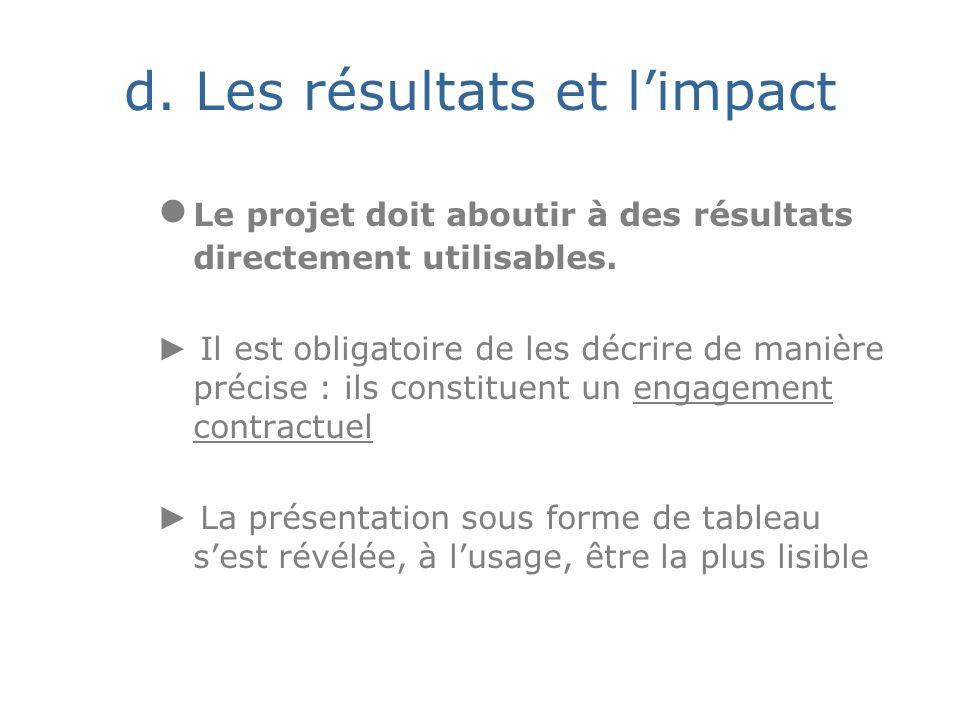 d. Les résultats et limpact Le projet doit aboutir à des résultats directement utilisables.