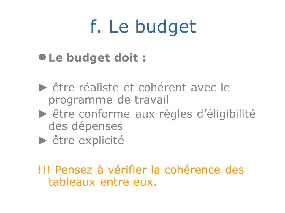 f. Le budget Le budget doit : être réaliste et cohérent avec le programme de travail être conforme aux règles déligibilité des dépenses être explicité