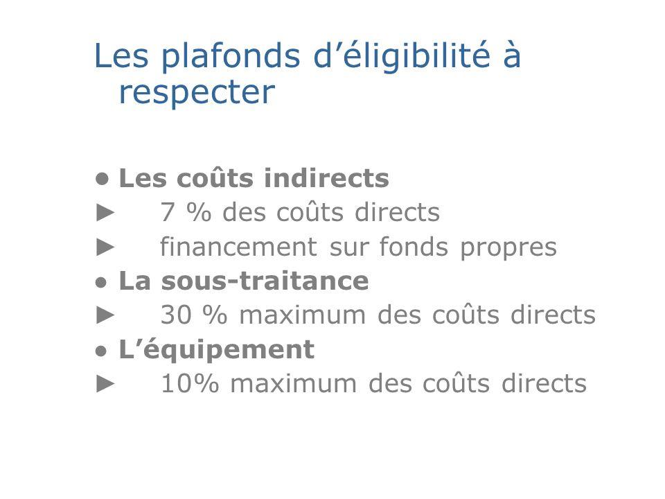 Les plafonds déligibilité à respecter Les coûts indirects 7 % des coûts directs financement sur fonds propres La sous-traitance 30 % maximum des coûts directs Léquipement 10% maximum des coûts directs