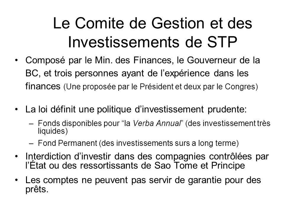Le Comite de Gestion et des Investissements de STP Composé par le Min.