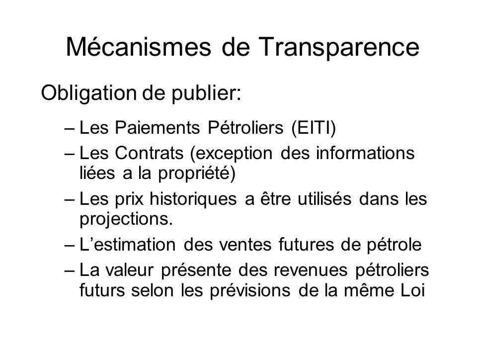 Mécanismes de Transparence Obligation de publier: –Les Paiements Pétroliers (EITI) –Les Contrats (exception des informations liées a la propriété) –Les prix historiques a être utilisés dans les projections.