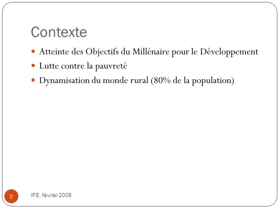 Contexte IFE, février 2009 2 Atteinte des Objectifs du Millénaire pour le Développement Lutte contre la pauvreté Dynamisation du monde rural (80% de la population)