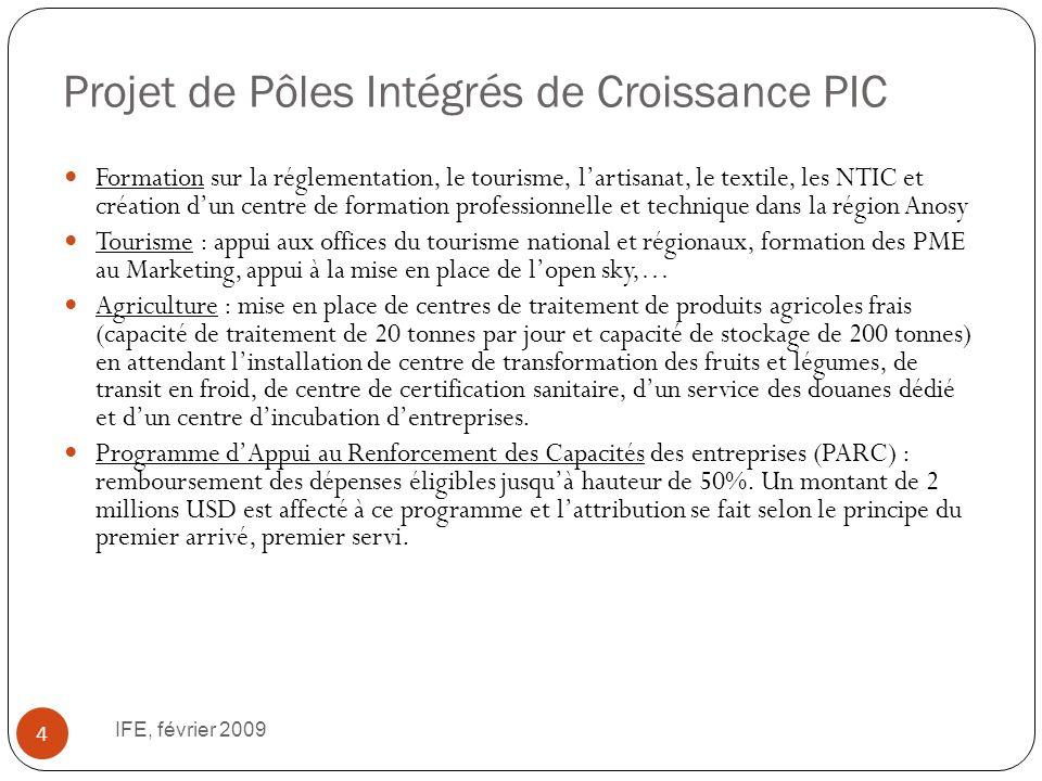 Projet de Pôles Intégrés de Croissance PIC IFE, février 2009 4 Formation sur la réglementation, le tourisme, lartisanat, le textile, les NTIC et créat