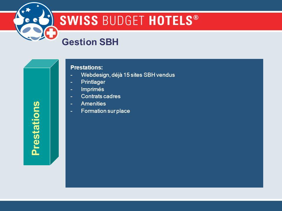 Gestion SBH Prestations: -Webdesign, déjà 15 sites SBH vendus -Printlager -Imprimés -Contrats cadres -Amenities -Formation sur place Prestations