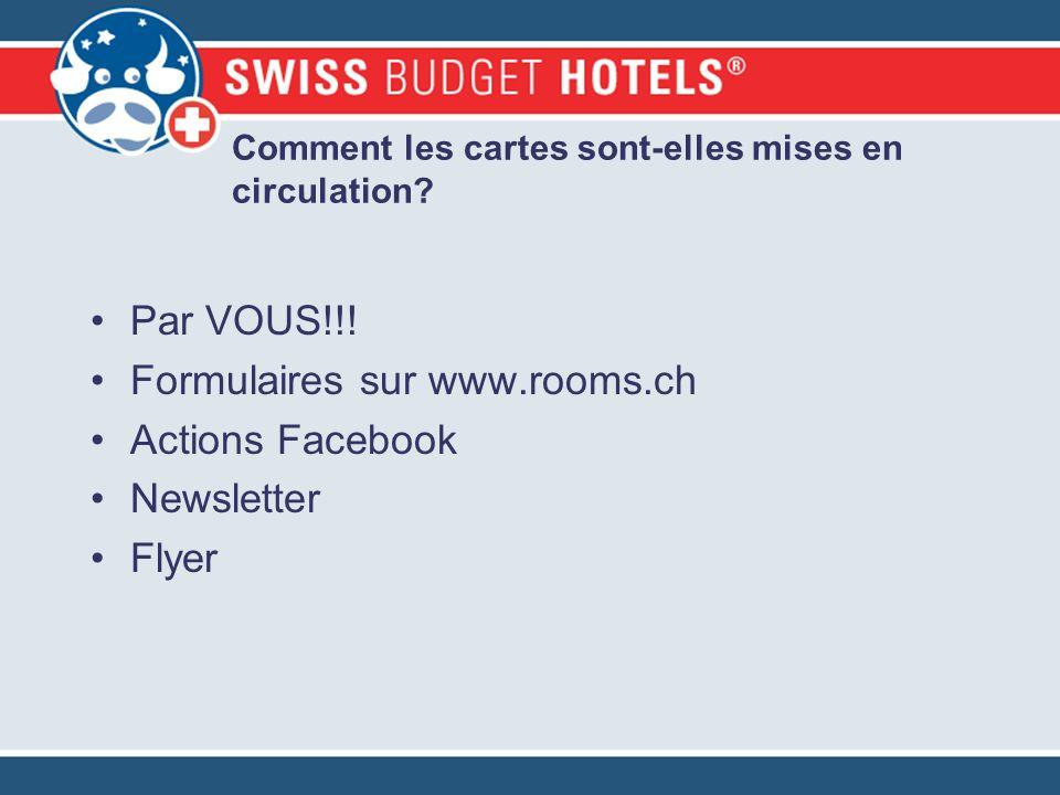 Comment les cartes sont-elles mises en circulation? Par VOUS!!! Formulaires sur www.rooms.ch Actions Facebook Newsletter Flyer
