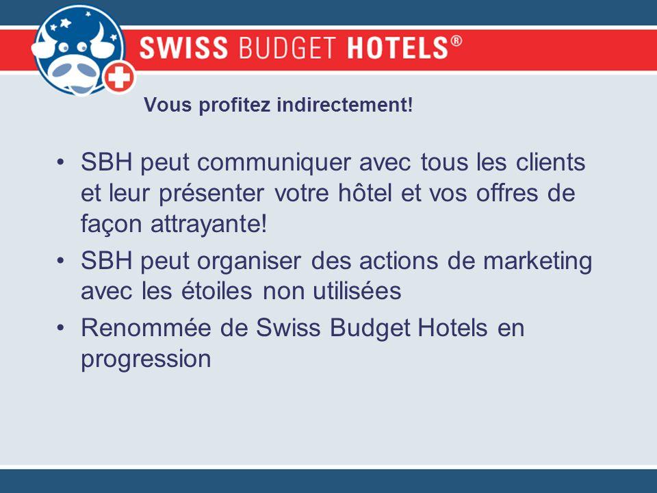 Vous profitez indirectement! SBH peut communiquer avec tous les clients et leur présenter votre hôtel et vos offres de façon attrayante! SBH peut orga
