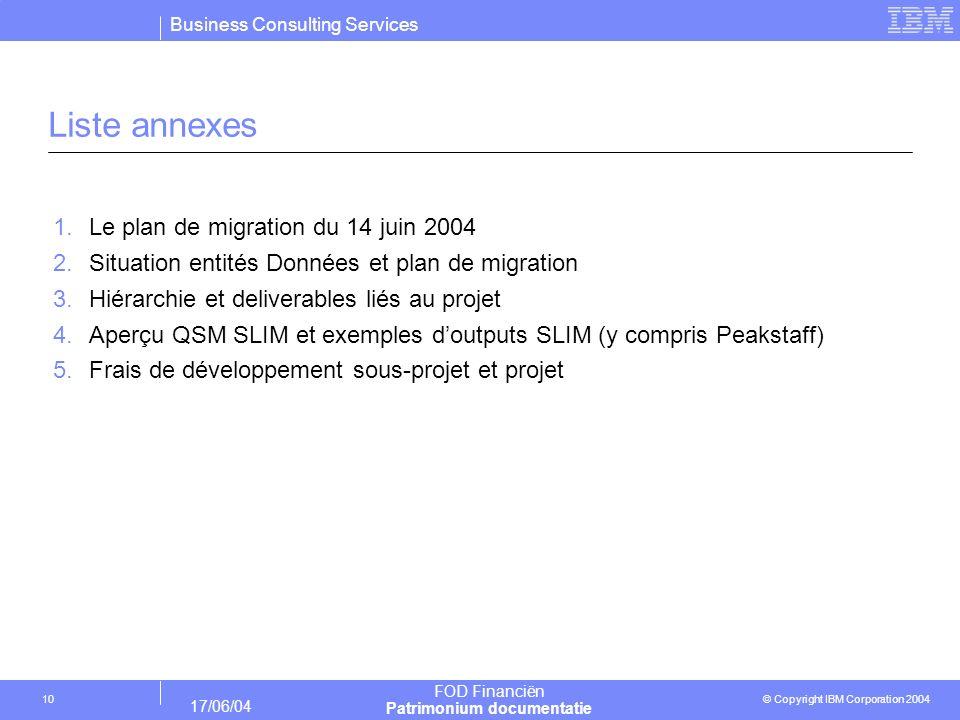 Business Consulting Services © Copyright IBM Corporation 2004 FOD Financiën Patrimonium documentatie 17/06/04 10 Liste annexes 1.Le plan de migration