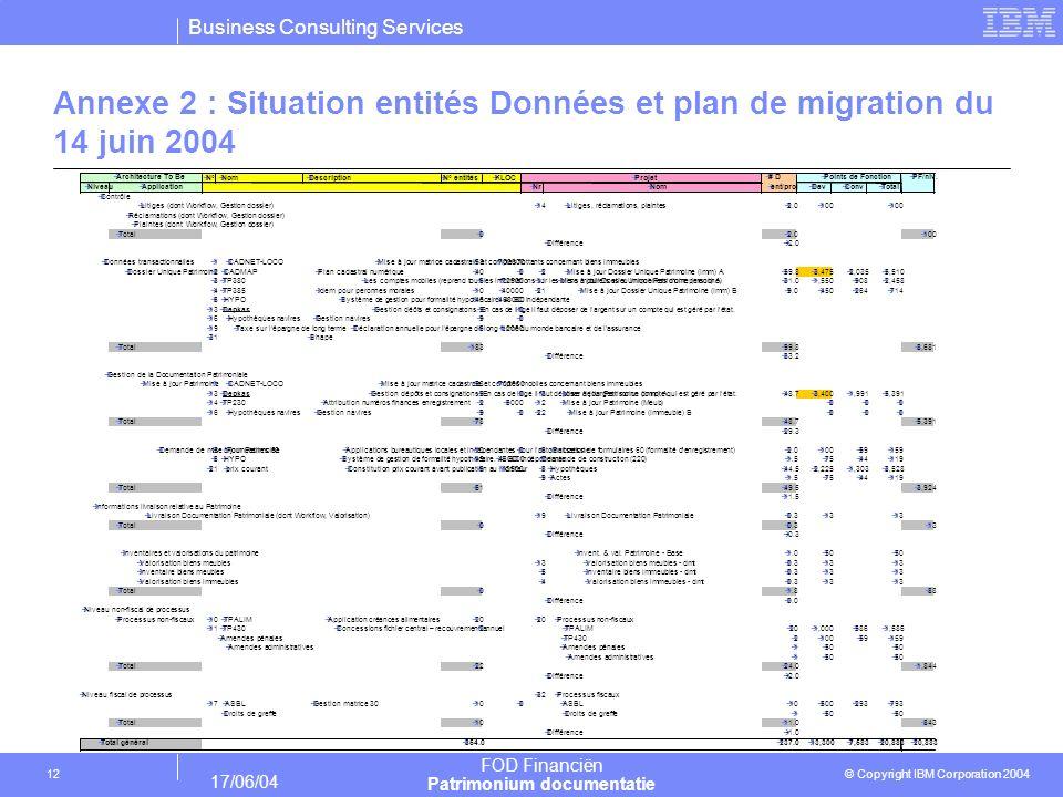 Business Consulting Services © Copyright IBM Corporation 2004 FOD Financiën Patrimonium documentatie 17/06/04 12 Annexe 2 : Situation entités Données