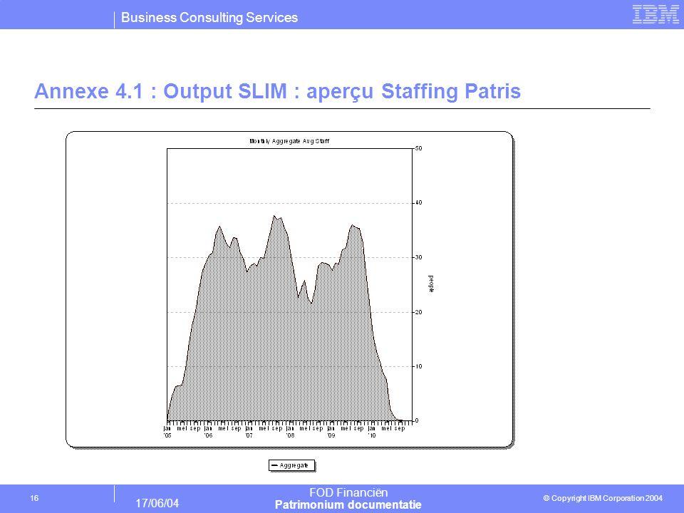 Business Consulting Services © Copyright IBM Corporation 2004 FOD Financiën Patrimonium documentatie 17/06/04 16 Annexe 4.1 : Output SLIM : aperçu Sta
