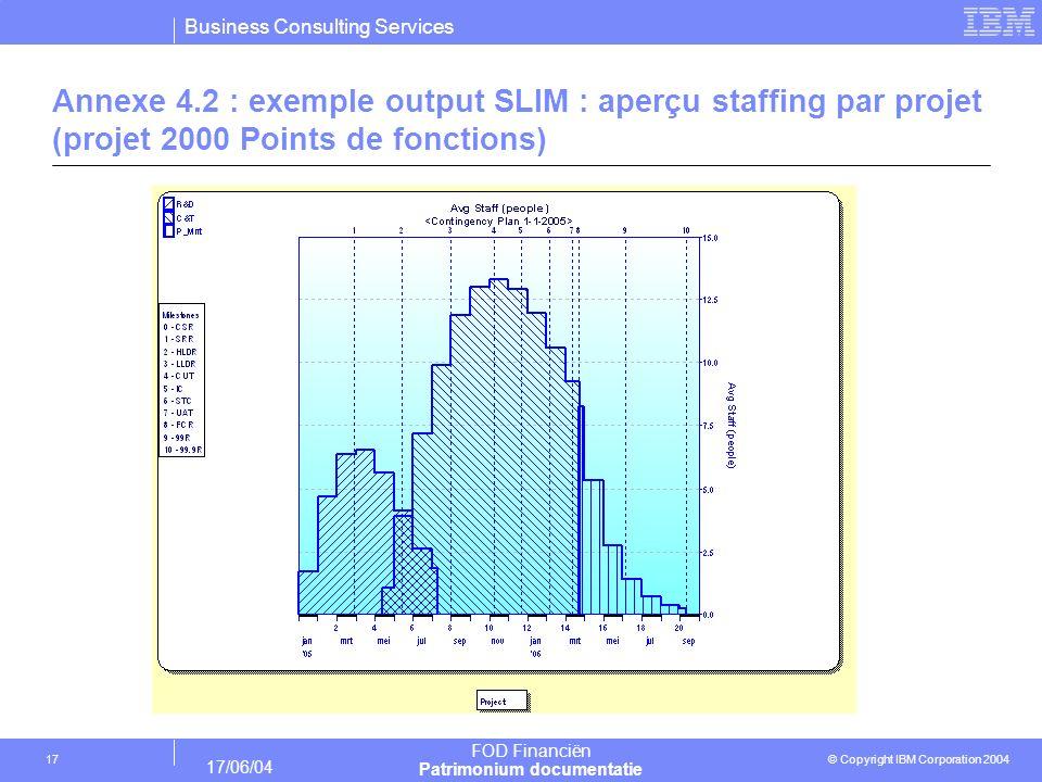 Business Consulting Services © Copyright IBM Corporation 2004 FOD Financiën Patrimonium documentatie 17/06/04 17 Annexe 4.2 : exemple output SLIM : ap