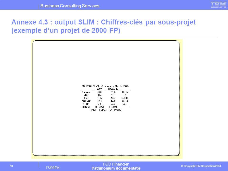 Business Consulting Services © Copyright IBM Corporation 2004 FOD Financiën Patrimonium documentatie 17/06/04 18 Annexe 4.3 : output SLIM : Chiffres-c