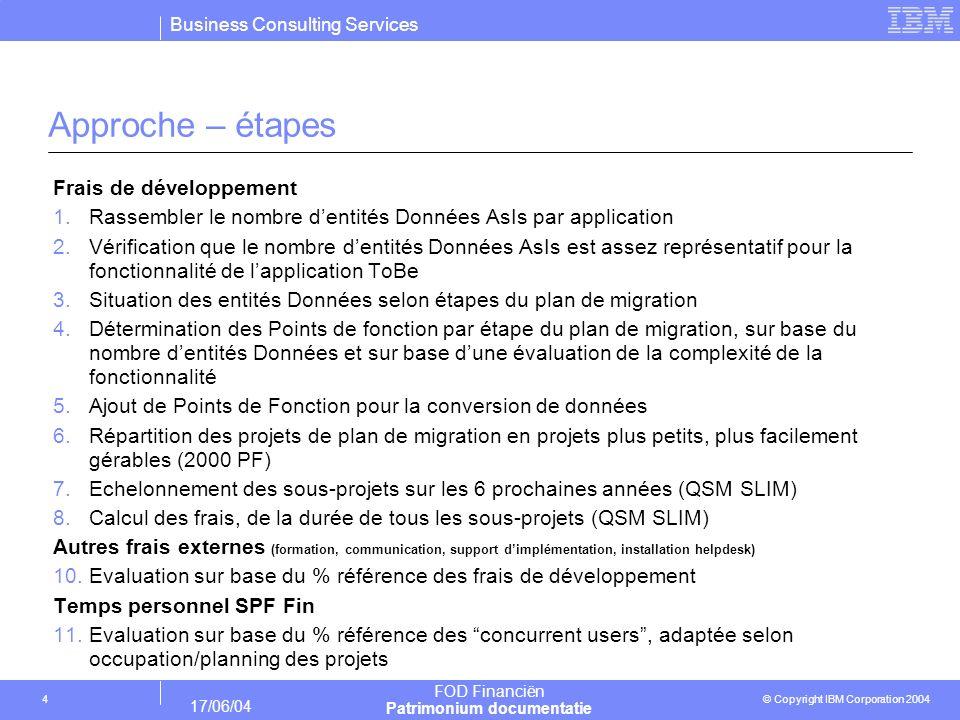 Business Consulting Services © Copyright IBM Corporation 2004 FOD Financiën Patrimonium documentatie 17/06/04 4 Approche – étapes Frais de développeme