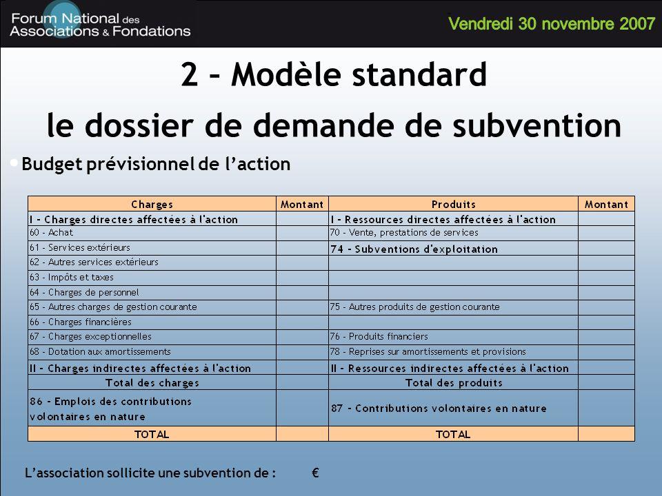 Budget prévisionnel de laction Lassociation sollicite une subvention de : 2 – Modèle standard le dossier de demande de subvention