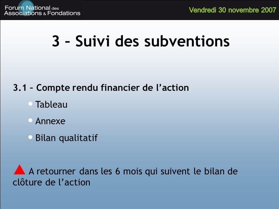 3.1 – Compte rendu financier de laction Tableau Annexe Bilan qualitatif A retourner dans les 6 mois qui suivent le bilan de clôture de laction 3 – Sui